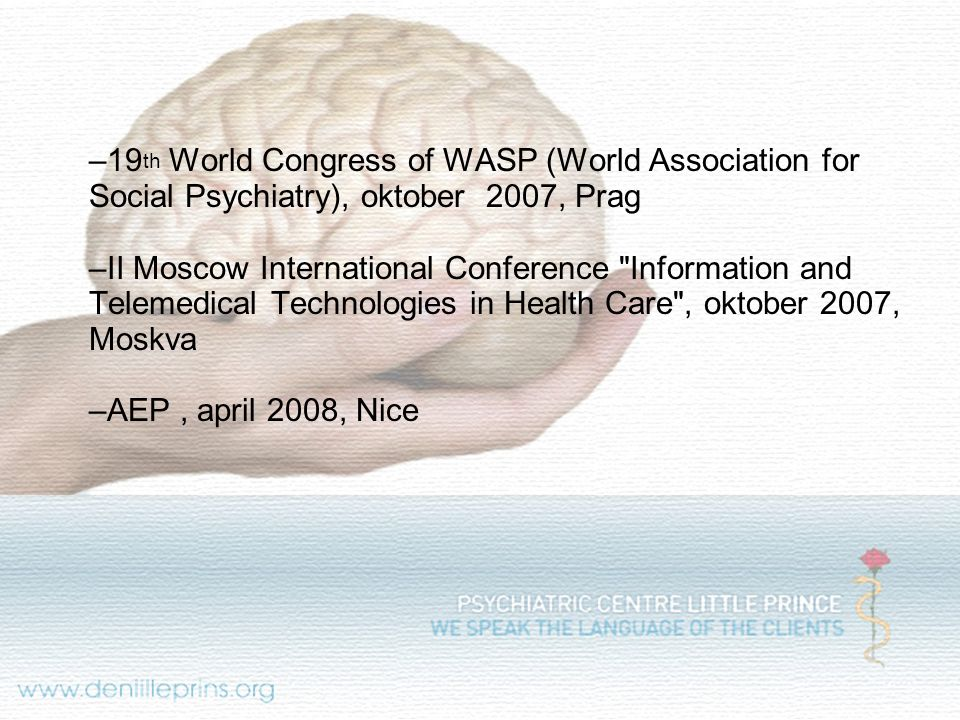 19th World Congress of WASP (World Association for Social Psychiatry), oktober 2007, Prag
