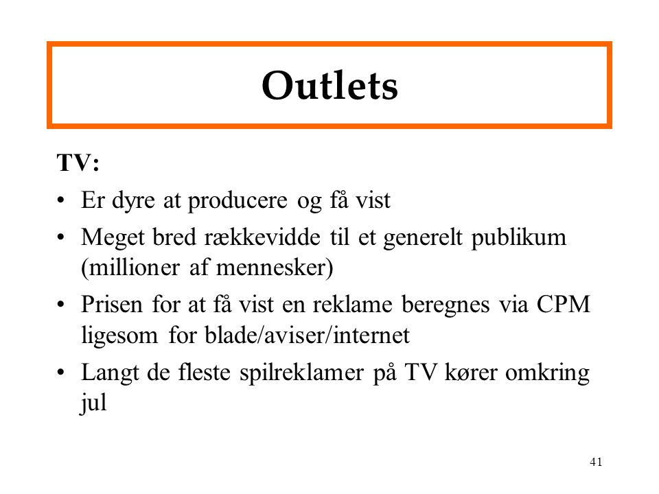 Outlets TV: Er dyre at producere og få vist