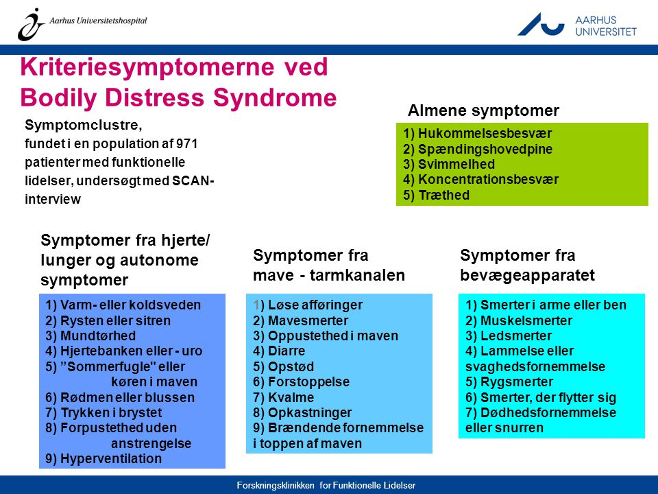 Kriteriesymptomerne ved Bodily Distress Syndrome