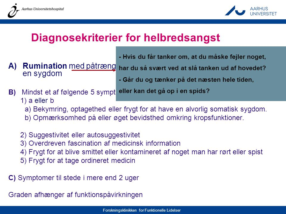 Diagnosekriterier for helbredsangst