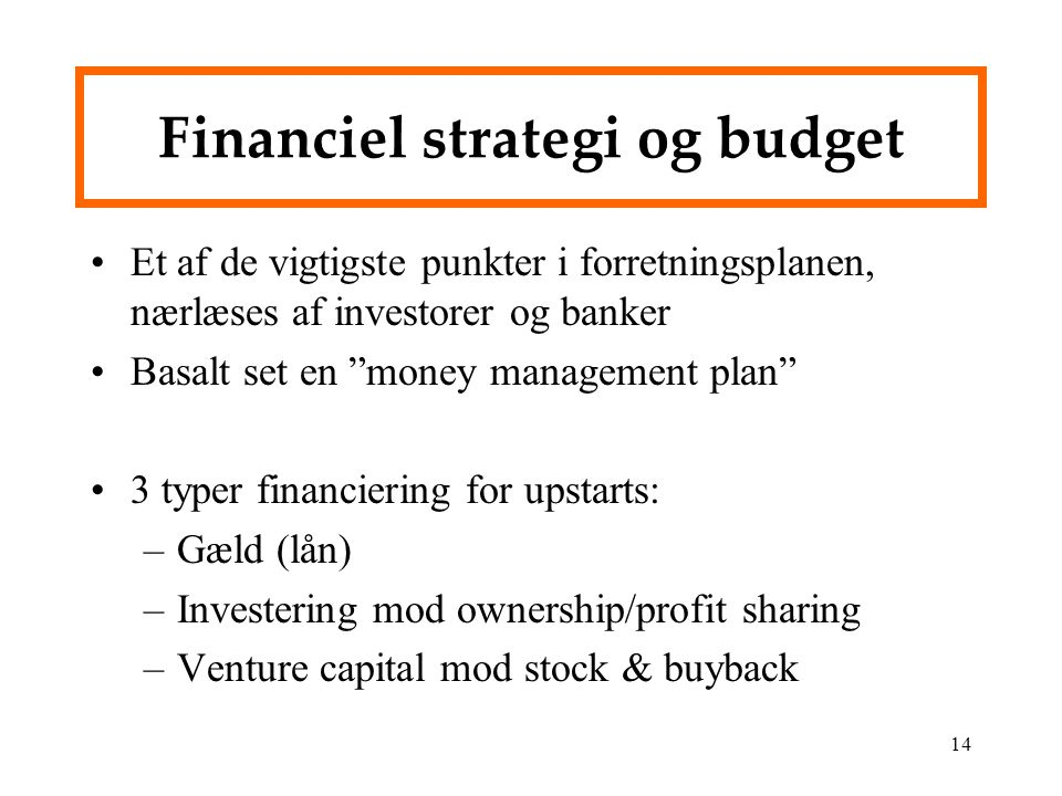 Financiel strategi og budget