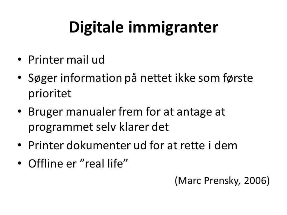 Digitale immigranter Printer mail ud