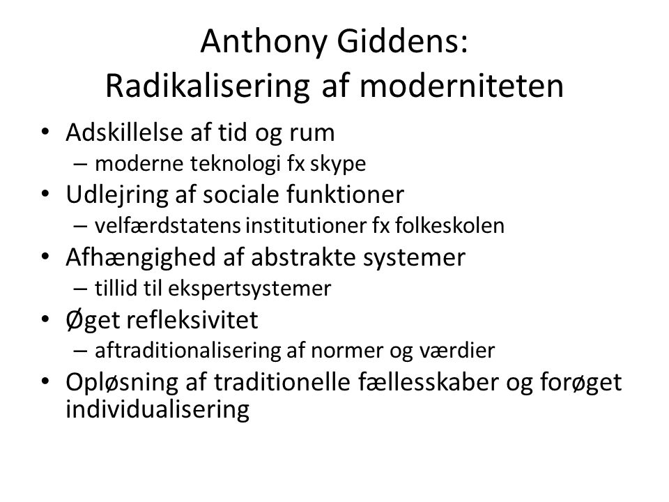 giddens aftraditionalisering