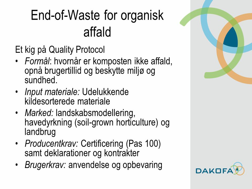 End-of-Waste for organisk affald