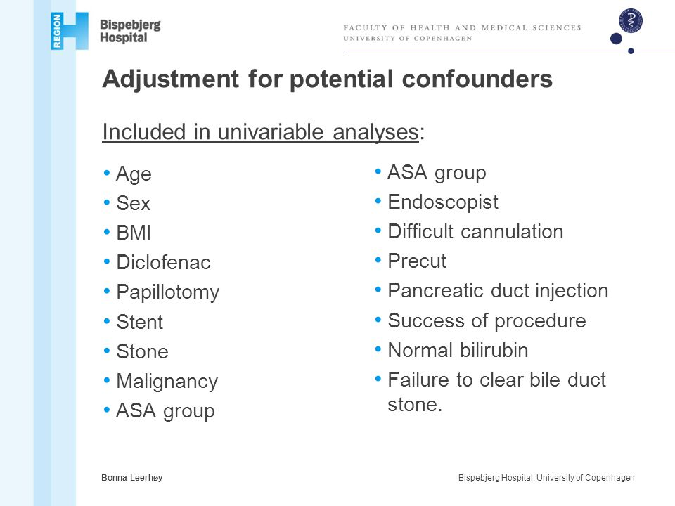 Adjustment for potential confounders Included in univariable analyses: