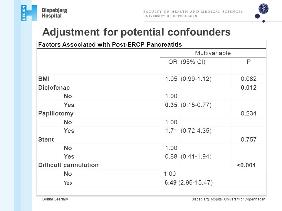 Adjustment for potential confounders