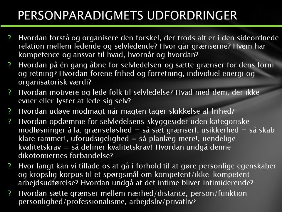 PERSONPARADIGMETS UDFORDRINGER