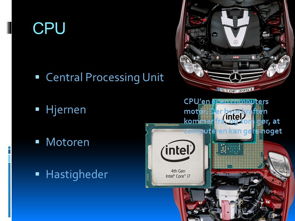 CPU Central Processing Unit Hjernen Motoren Hastigheder