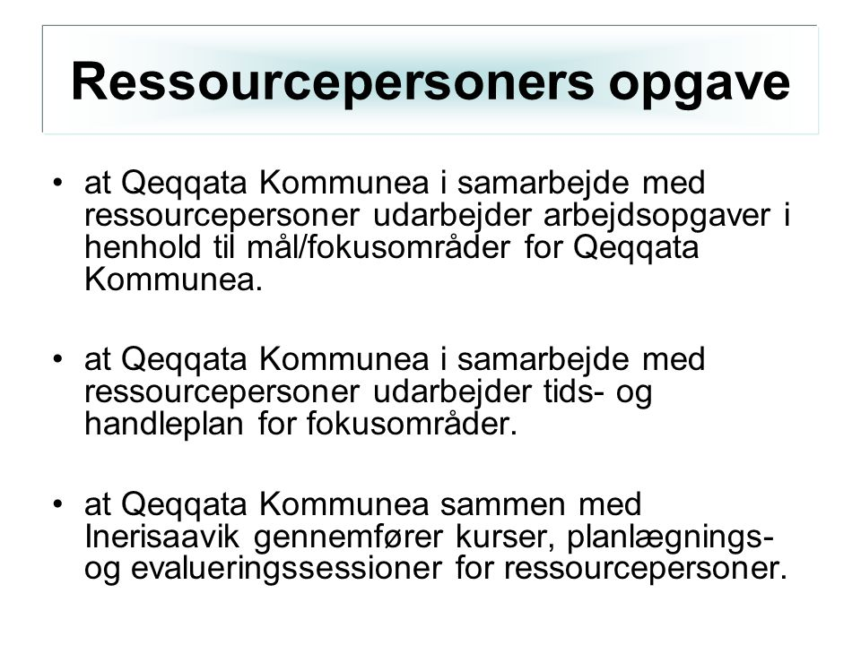 Ressourcepersoners opgave