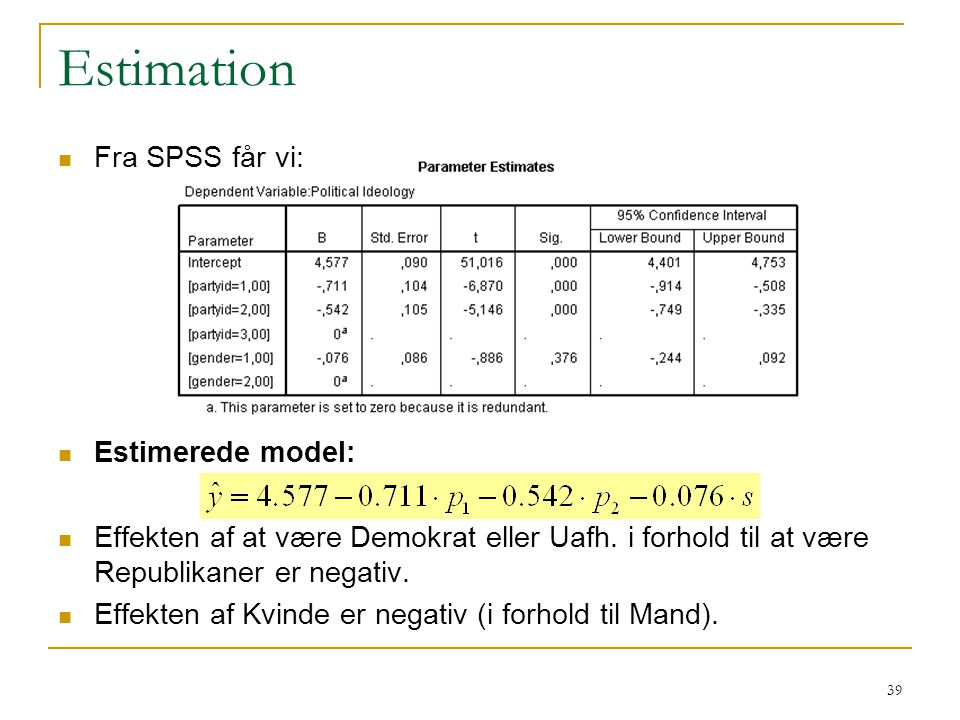 Estimation Fra SPSS får vi: Estimerede model: