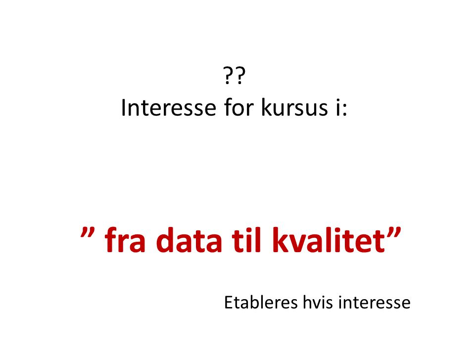 Interesse for kursus i: