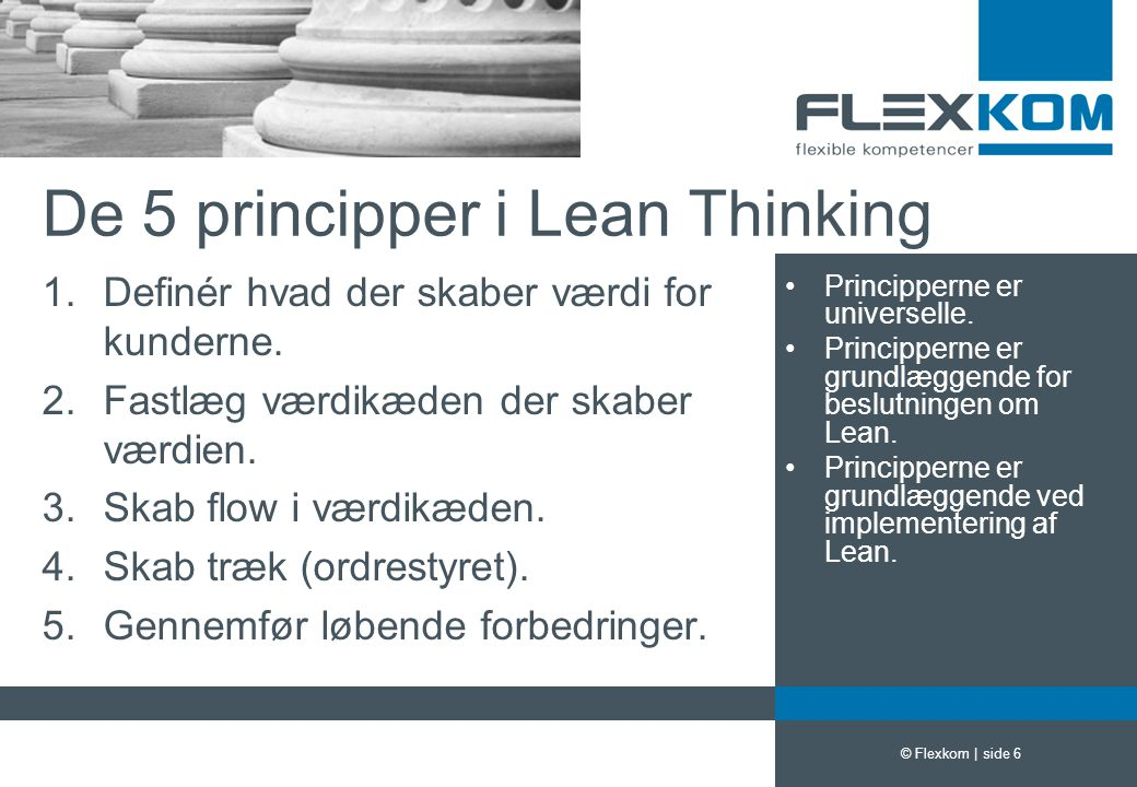 De 5 principper i Lean Thinking