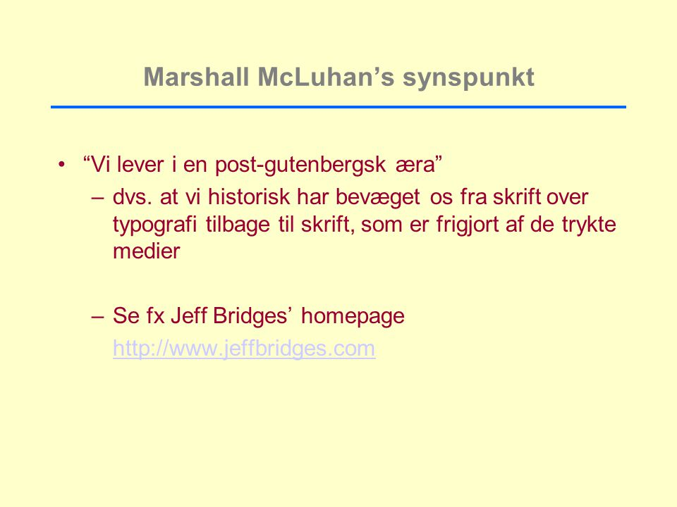 Marshall McLuhan's synspunkt
