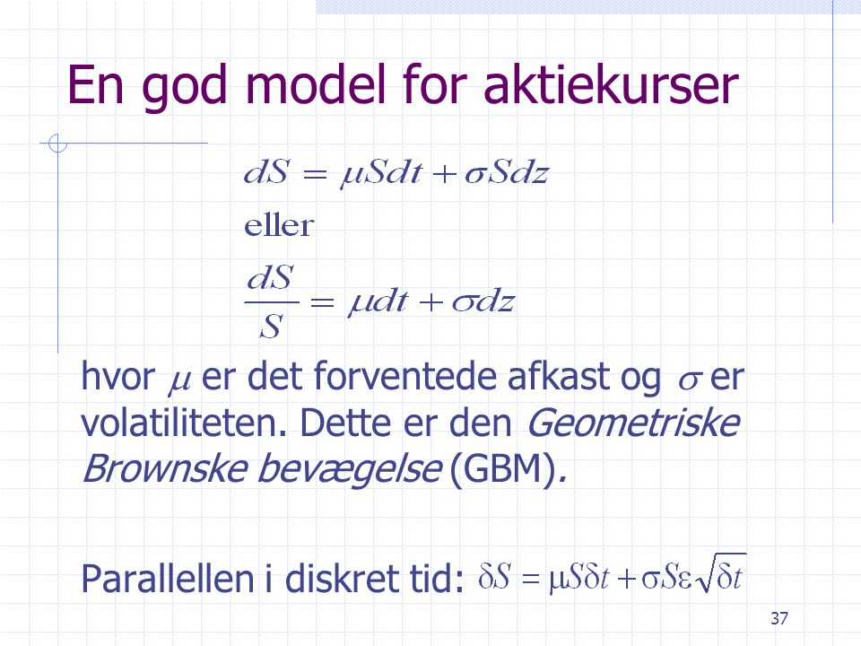 En god model for aktiekurser