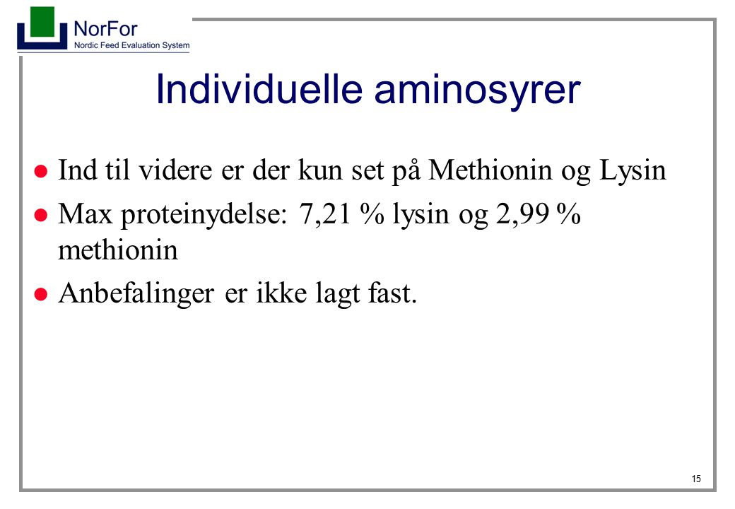 Individuelle aminosyrer