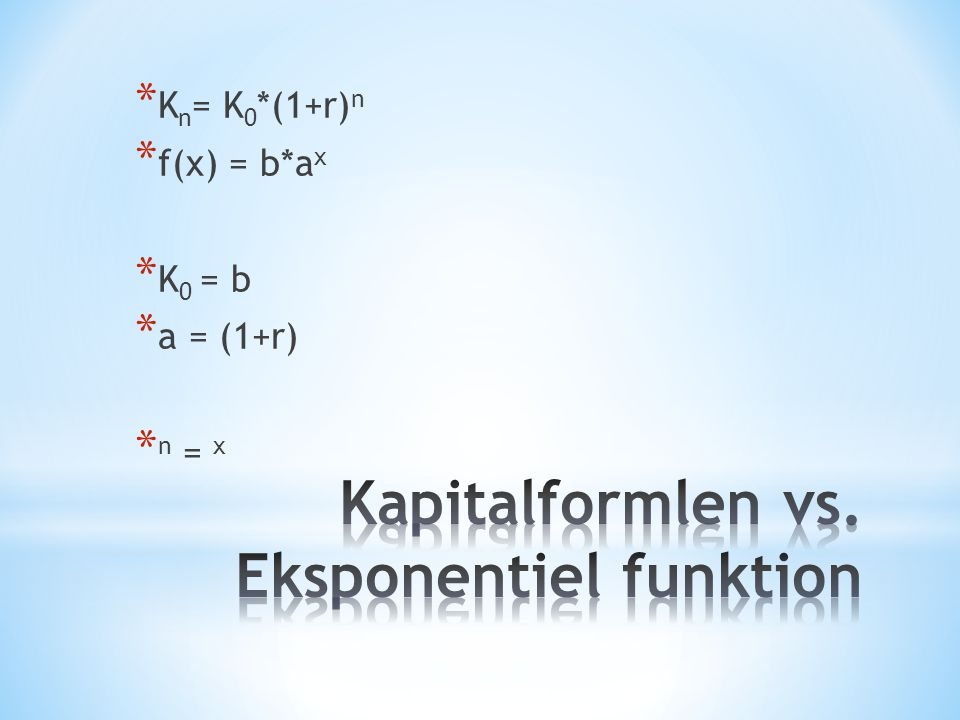 Kapitalformlen vs. Eksponentiel funktion