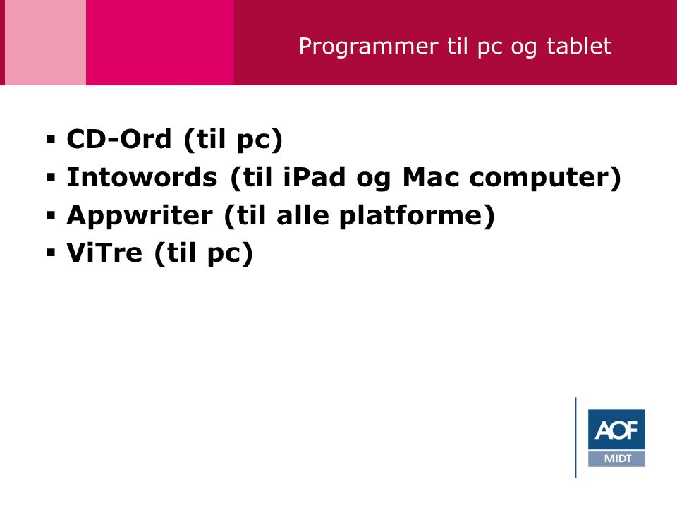 Programmer til pc og tablet