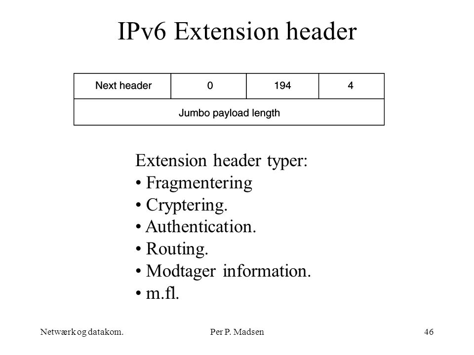 IPv6 Extension header Extension header typer: Fragmentering