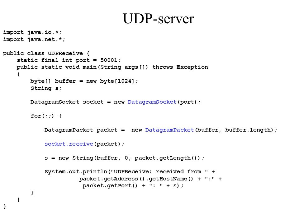 UDP-server import java.io.*; import java.net.*;