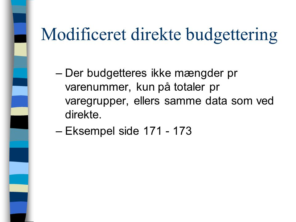 Modificeret direkte budgettering