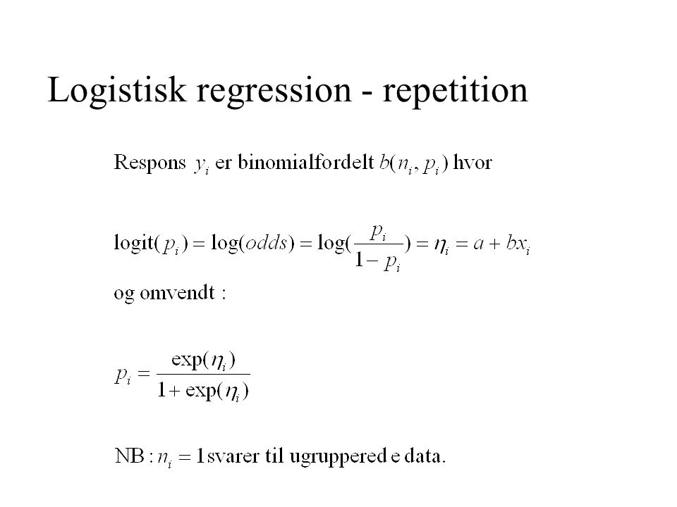 Logistisk regression - repetition
